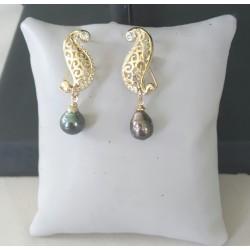 B.O. plaqué or avec perles de Tahiti