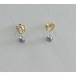 boucles d'oreilles plaqué/or et perles de Tahiti