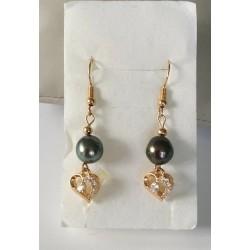 boucles d'oreilles plaqué or et perles de Tahiti