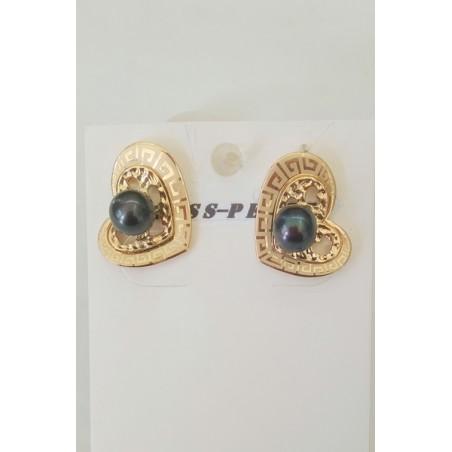 boucles d'oreilles clous, plaqué/or garantie 10 ans et perles de Tahiti